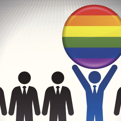 LGBT Flag Button with Business Concept Stick Figures
