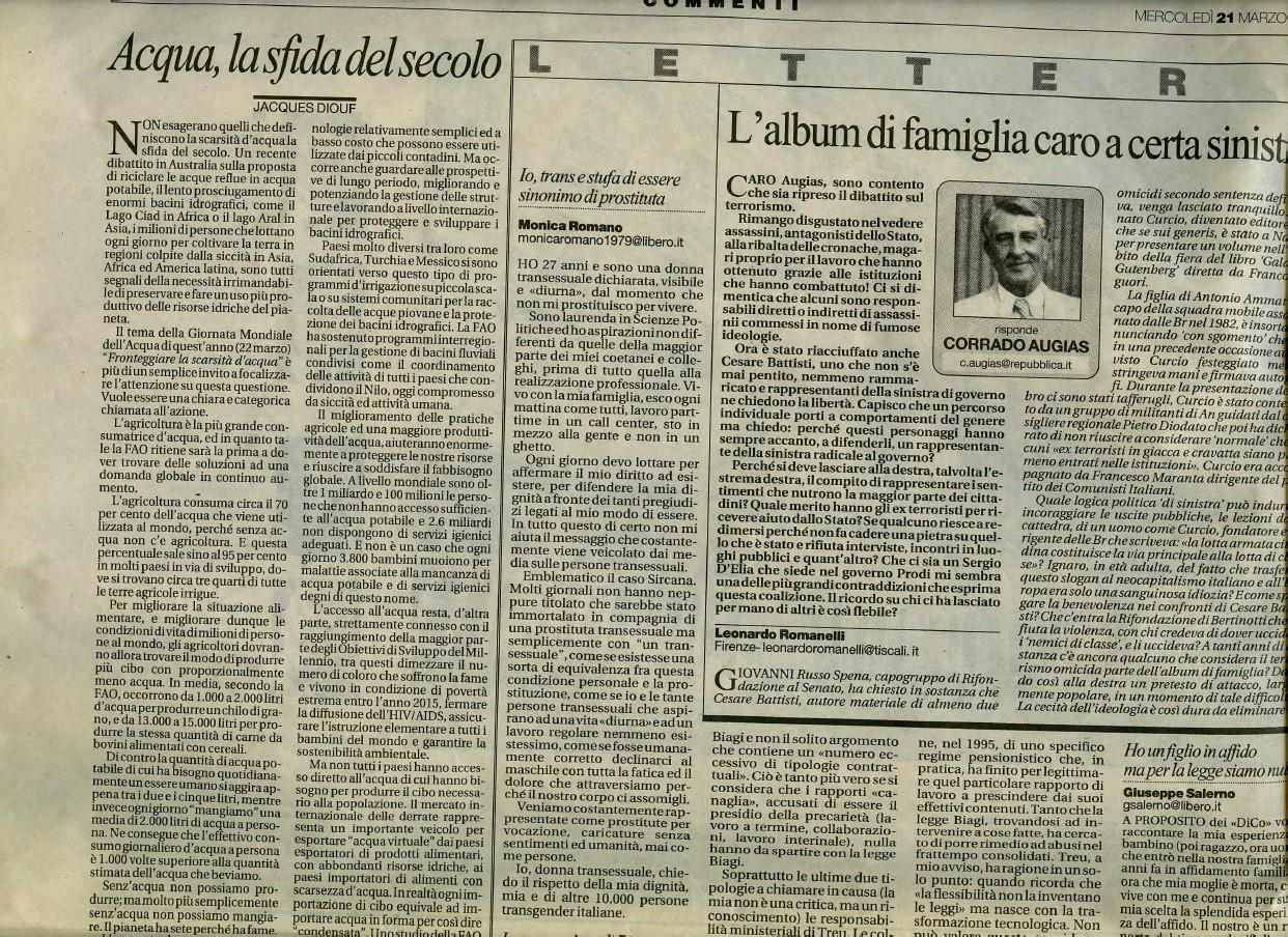 """Lettera aperta sul caso Sircana pubblicata dai quotidiani """"La Repubblica"""" e """"La Stampa"""" - Marzo 2007"""